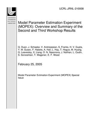 Primary view of object titled 'Model Parameter Estimation Experiment (MOPEX): Overview and Summary of the Second and Third Workshop Results'.