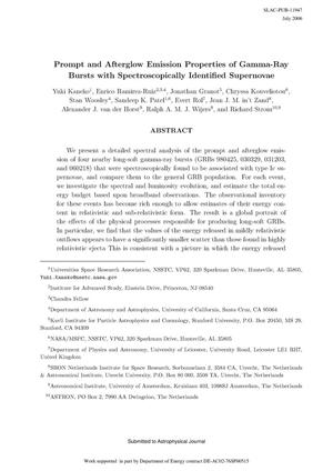 Primary view of object titled 'Prompt and Afterglow Emission Properties of Gamma-Ray Bursts with Spectroscopically Identified Supernovae'.