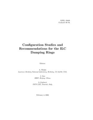 Primary view of object titled 'Configuration Studies and Recommendations for the ILC DampingRings'.