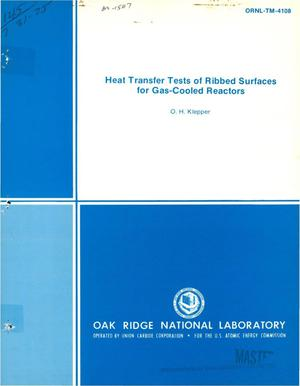 Primary view of object titled 'Heat transfer tests of ribbed surfaces for gas-cooled reactors'.