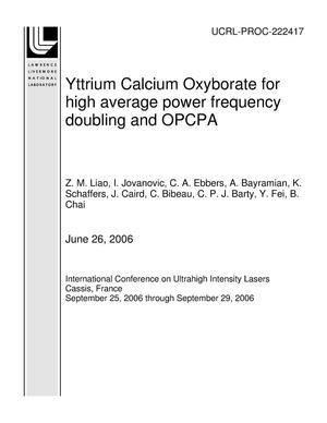 Primary view of object titled 'Yttrium Calcium Oxyborate for high average power frequency doubling and OPCPA'.