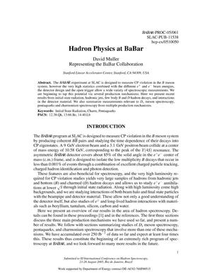 Primary view of object titled 'Hadron Physics at BaBar'.