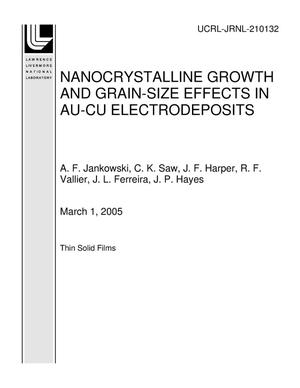 Primary view of object titled 'NANOCRYSTALLINE GROWTH AND GRAIN-SIZE EFFECTS IN AU-CU ELECTRODEPOSITS'.