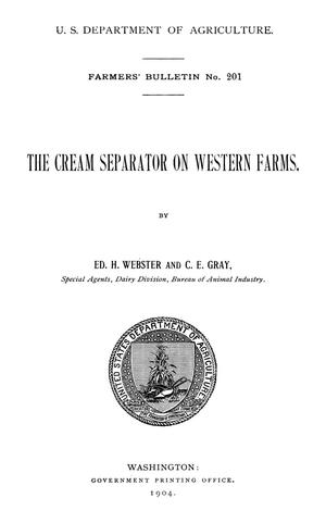 Primary view of object titled 'The Cream Separator on Western Farms'.