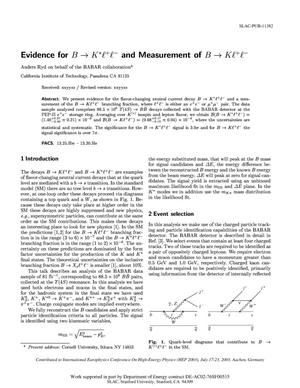 Primary view of object titled 'Evidence for K ---> K* L+ L- and Measurement of B ---> K L+ L-'.