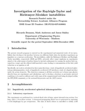 Primary view of object titled 'Investigation of the Rayleigh-Taylor and Richtmyer-Meshkov instabilities'.