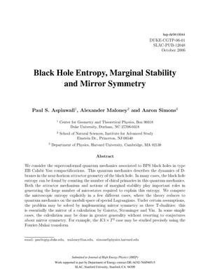 Primary view of object titled 'Black Hole Entropy, Marginal Stability and Mirror Symmetry'.