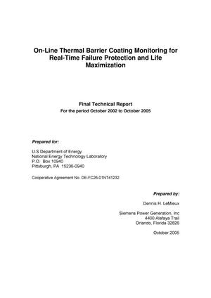 Primary view of object titled 'On-Line Thermal Barrier Coating Monitoring for Real-Time Failure Protection and Life Maximization'.