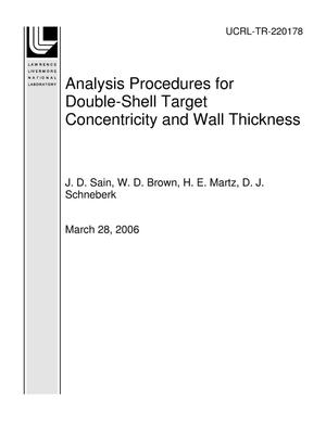 Primary view of object titled 'Analysis Procedures for Double-Shell Target Concentricity and Wall Thickness'.