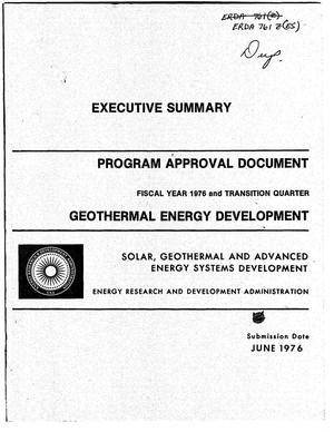 Primary view of object titled 'Program approval document, fiscal year 1976 and transition quarter. Executive summary'.