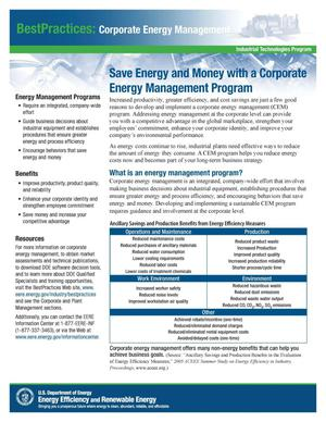Primary view of object titled 'Save Energy and Money with a Corporate Energy Management Program'.