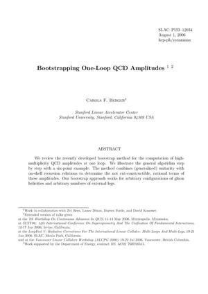 Primary view of object titled 'Bootstrapping One-Loop QCD Amplitudes'.