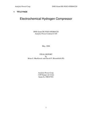 Primary view of object titled 'Electrochemical Hydrogen Compressor'.
