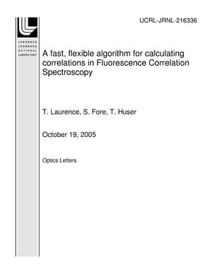 Primary view of object titled 'A fast, flexible algorithm for calculating correlations in Fluorescence Correlation Spectroscopy'.