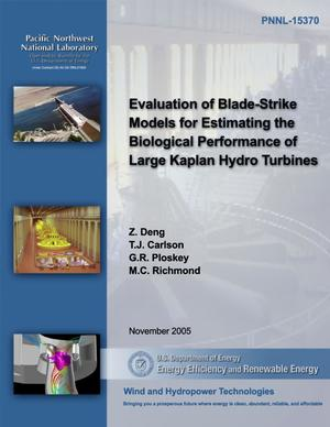 Primary view of object titled 'Evaluation of Blade-Strike Models for Estimating the Biological Performance of Large Kaplan Hydro Turbines'.