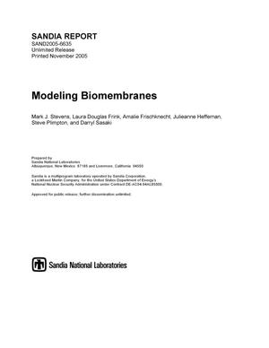 Primary view of object titled 'Modeling biomembranes.'.
