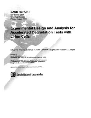 Primary view of object titled 'Experimental design and analysis for accelerated degradation tests with Li-ion cells.'.