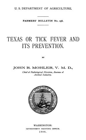 Primary view of Texas or Tick Fever and Its Prevention