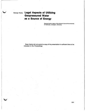 Primary view of object titled 'Legal aspects of utilizing geopressured water as a source of energy'.