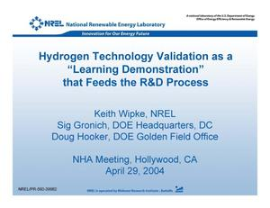 "Primary view of object titled 'Hydrogen Technology Validation as a ""Learning Demonstration"" that Feeds the R&D Process (Presentation)'."