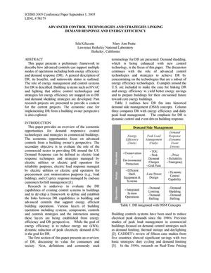 Primary view of object titled 'Advanced Control Technologies and Strategies Linking DemandResponse and Energy Efficiency'.