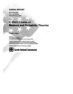 Primary view of object titled 'A short course on measure and probability theories.'.