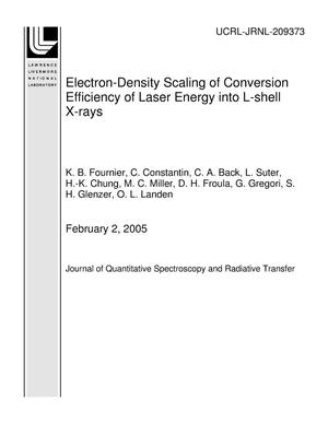 Primary view of object titled 'Electron-Density Scaling of Conversion Efficiency of Laser Energy into L-shell X-rays'.