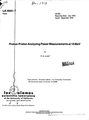 Primary view of object titled 'Proton--proton analyzing power measurements at 16 MeV'.