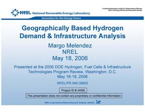 Primary view of object titled 'Geographically Based Hydrogen Demand & Infrastructure Analysis (Presentation)'.
