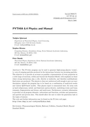 Primary view of object titled 'PYTHIA 6.4 Physics and Manual'.