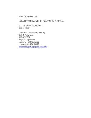Primary view of object titled 'DOE Final Report -NON-LINEAR WAVES IN CONTINUOUS MEDIA- BES- Division of Engineering and Materials Science'.