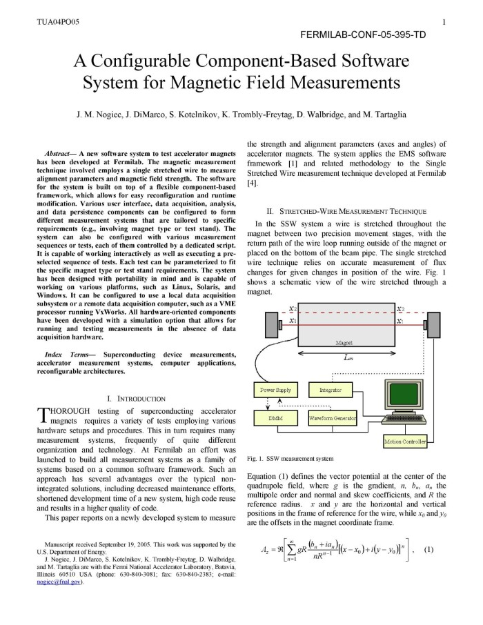 A configurable component-based software system for magnetic