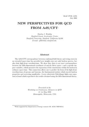 Primary view of object titled 'New Perspectives for QCD from AdS/CFT'.