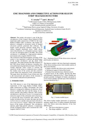 Primary view of object titled 'EMC Diagnosis and Corrective Actions for Silicon Strip Tracker Detectors'.