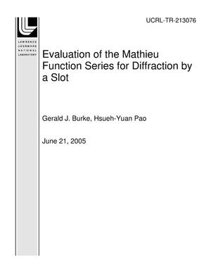 Primary view of object titled 'Evaluation of the Mathieu Function Series for Diffraction by a Slot'.