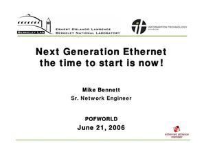Primary view of object titled 'Next Generation Ethernet the time to start is now'.
