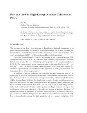 Primary view of object titled 'Partonic EoS in High-Energy Nuclear Collisions at RHIC'.