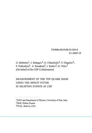 Primary view of object titled 'Measurement of the top quark mass using the MINUIT fitter in dilepton events at CDF'.
