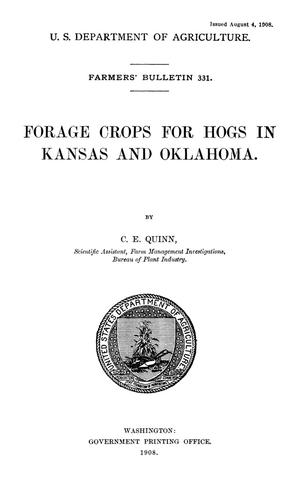 Primary view of object titled 'Forage Crops for Hogs in Kansas and Oklahoma'.