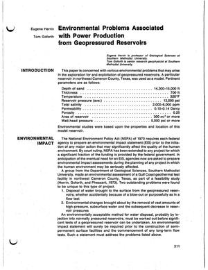 Primary view of object titled 'Environmental problems associated with the production of energy from geopressured reservoirs'.