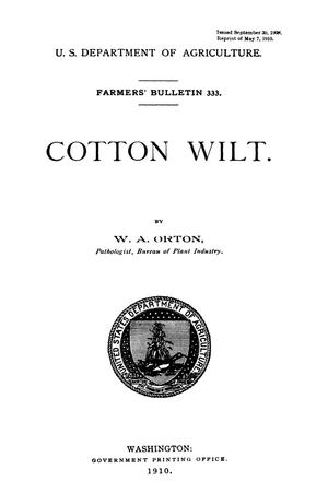 Primary view of object titled 'Cotton Wilt'.