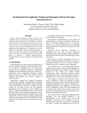 Primary view of object titled 'On-demand grid application tuning and debugging with the netloggeractivation service'.