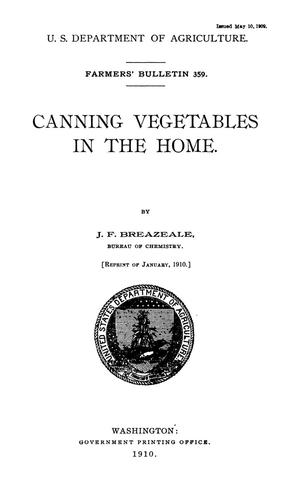 Primary view of object titled 'Canning Vegetables in the Home'.