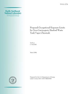 Primary view of object titled 'Proposed Occupational Exposure Limits for Non-Carcinogenic Hanford Waste Tank Vapor Chemicals'.