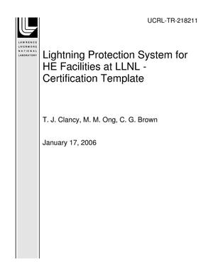 Primary view of object titled 'Lightning Protection System for HE Facilities at LLNL - Certification Template'.