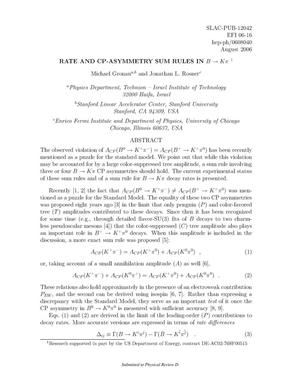 Primary view of object titled 'Rate and CP-Asymmetry Sum Rules in B to K pi'.