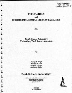 Primary view of object titled 'Publications and geothermal sample library facilities of the Earth Science Laboratory, University of Utah Research Institute'.