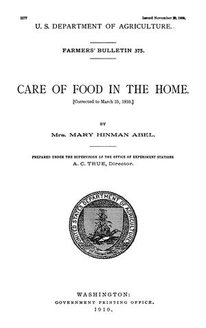 Primary view of object titled 'Care of Food in the Home'.