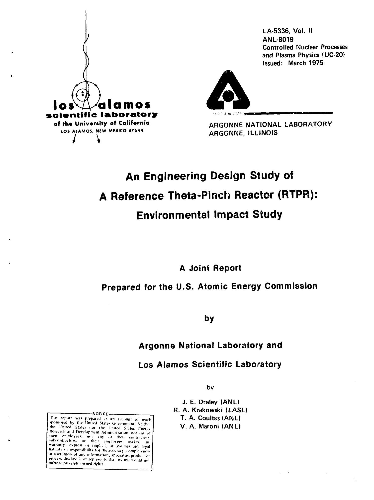 Engineering design study of a reference theta-pinch reactor (RTPR): environmental impact study                                                                                                      [Sequence #]: 3 of 80