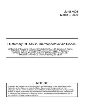 Primary view of object titled 'Quaternary InGaAsSb Thermophotovoltaic Diodes'.